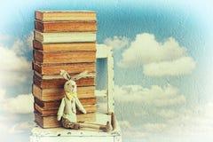 Libros viejos y juguete del conejito Imágenes de archivo libres de regalías
