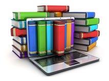 Libros y computadora portátil stock de ilustración