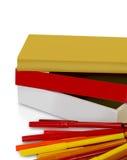 Libros y etiquetas de plástico de Scool Fotos de archivo