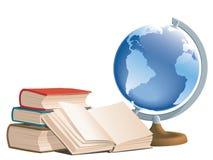 Libros y globo ilustración del vector