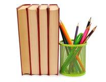 Libros y lápices Foto de archivo libre de regalías