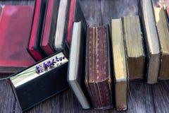 Libros y lavanda del vintage Imagenes de archivo