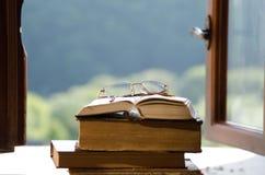 Libros y lentes Imágenes de archivo libres de regalías