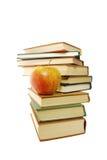 Libros y manzana Imagen de archivo