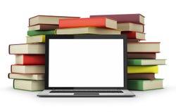 Libros y ordenador portátil stock de ilustración