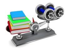 Libros y pesas de gimnasia Fotografía de archivo libre de regalías
