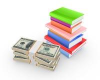 Libros y pila coloridos de dólares. Imagen de archivo libre de regalías