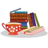 Libros y taza de té Stock de ilustración