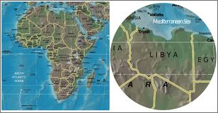 Libya and Africa map Royalty Free Stock Photography