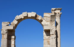Libya. Archaeological site of Leptis Magna,the arch of Trajan Royalty Free Stock Photo