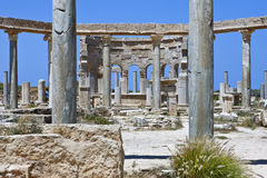 Libya. Archaeological site of Leptis Magna,the market Stock Image