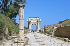 Libya. Archaeological site of Leptis Magna,the Settimio Severo arch Royalty Free Stock Image