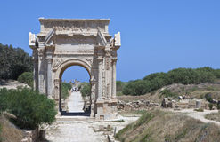 Libya. Archaeological site of Leptis Magna,the Settimio Severo arch Stock Photo