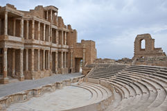 Libya. Archaeological site of Sabratha,the Roman theatre Royalty Free Stock Photo