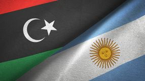 Libya and Argentina two flags textile cloth, fabric texture. Libya and Argentina flags together textile cloth, fabric texture stock illustration
