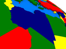 Libya on colorful 3D globe Stock Photo