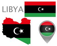 Libya flag, map and map pointer vector illustration