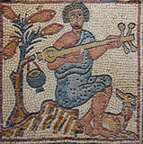 Libya Cyrenaica Byzantine mosaic musician Stock Photos