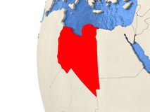 Libya on 3D globe Stock Images