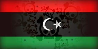 Libya Flag War Skulls Crisis. Libya Flag Conflict War Skulls Crisis Illustration vector illustration