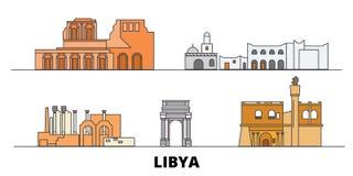 Libya flat landmarks vector illustration. Libya line city with famous travel sights, skyline, design. Libya flat landmarks vector illustration. Libya line city stock illustration