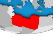 Libya on globe Stock Images