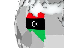 Libya on globe with flag Stock Image