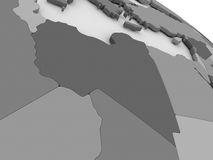 Libya on grey 3D map Royalty Free Stock Photography