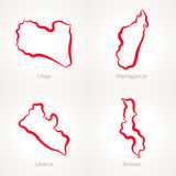 Libya, Madagascar, Liberia and Malawi - Outline Map. Outline map of Libya, Madagascar, Liberia and Malawi marked with red line Royalty Free Stock Images