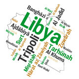 Libya map and cities. Libya map and words cloud with larger cities Stock Photo