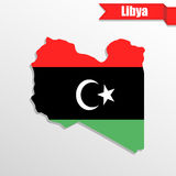 Libya map with flag inside and ribbon Royalty Free Stock Image