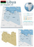 Libya maps with markers Stock Photos