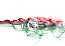 Libya national smoke flag. Libya smoke flag isolated on a white background Stock Images