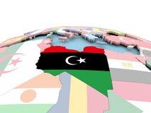 Flag of Libya on bright globe. Libya on political globe with embedded flags. 3D illustration Royalty Free Stock Photos