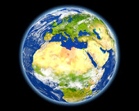 Libya in red from space Royalty Free Stock Image