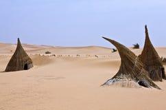 Libya. Sahara desert,a tuareg village in the Ubari lakes area Royalty Free Stock Image