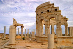 Libya Tripoli Leptis Magna. Roman City Unesco World Heritage Site - market place stock photos