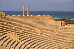 Libya Tripoli Leptis Magna Amphitheater. Libya Tripoli Leptis Magna Ancient Roman City - Amphitheater overlooking the Mediterranean. UNESCO World Heritage Site stock photos