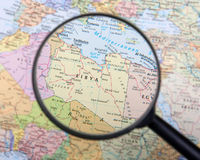 Libya under magnifier. Destination Libya under magnifying glass Stock Photography