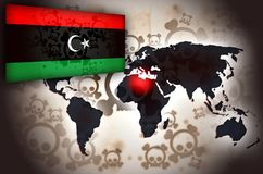 Libya World Map Crisis Flag Stock Photography