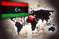 Libya World Map Crisis Flag. World map and skulls vector illustration