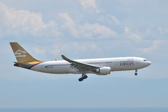 Libyan Airlines Airbus A330 landing at Istanbul Ataturk Airport Royalty Free Stock Photo