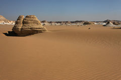 Libyan desert in West Egypt. Sand and rock formations in libyan desert of West Egypt royalty free stock image