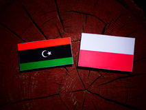 Libyan flag with Polish flag on a tree stump isolated. Libyan flag with Polish flag on a tree stump stock illustration