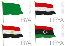Libyan historical flags Royalty Free Stock Photo