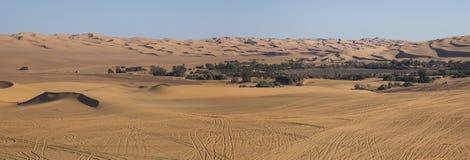 Libyan sahara desert. Oasis of Ubari lakes in the Libyan Sahara Stock Images