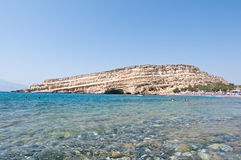 Libyan sea and the coast of Matala beach on the Crete island, Greece. Royalty Free Stock Photography