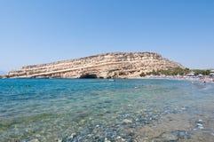 Libyan sea and the coast Matala sandy beach on the Crete island, Greece. Royalty Free Stock Image