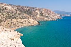 Libyan sea and the coast near Matala beach on the Crete island, Greece. Stock Images