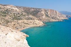 Libyan sea and the coast near Matala beach on the Crete island, Greece. Stock Photos